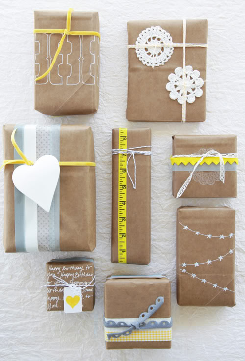 Paper Grocery Bags Gift Wrapping Ideas (via decor8blog)