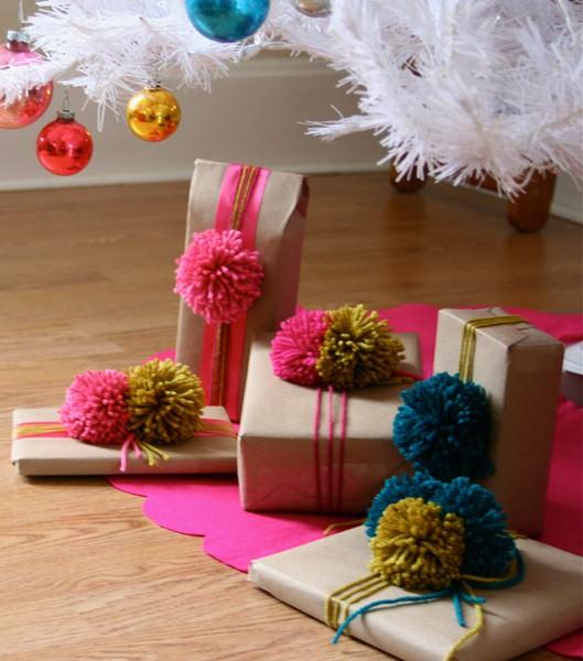 Yarn And Pom Pom Gift Wrap Ideas