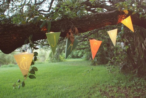 DIY Lighted Paper Pennant Garland (via oncewed)