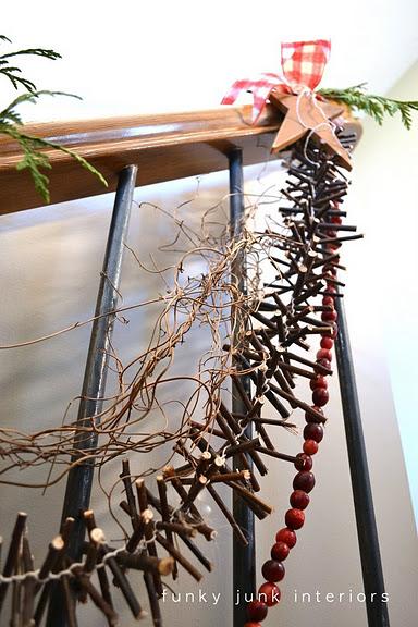 DIY Christmas Garland Of Twigs (via funkyjunkinteriors)