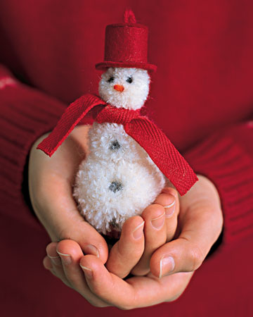 Homemade Pom Pom Snowman