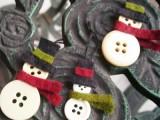 DIY Button Snowman Ornaments