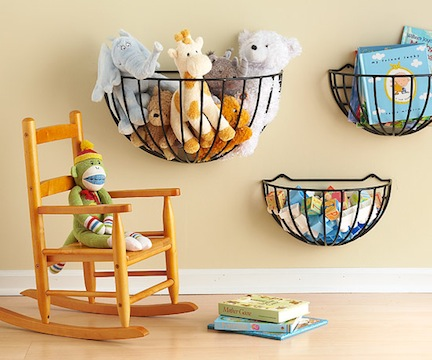 Wall-Mount garden baskets make a very easy and simple DIY toy storage solution (via blogs)