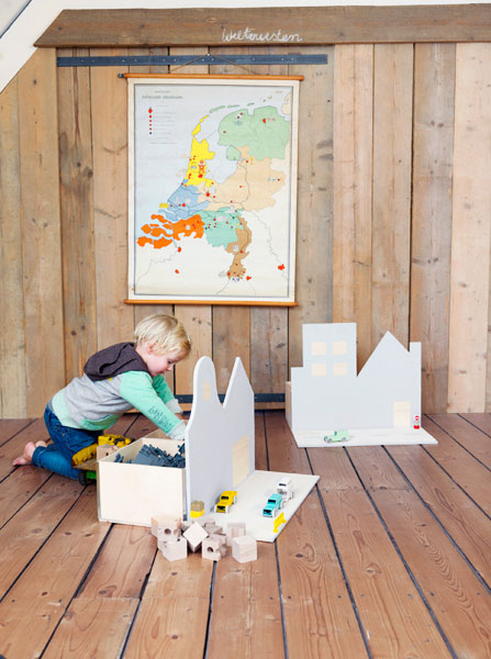 This DIY Toy Chest doubles as a toy. It's made of boxes from IKEA, poplar plywood sheets and satin paint. (via shelterness)