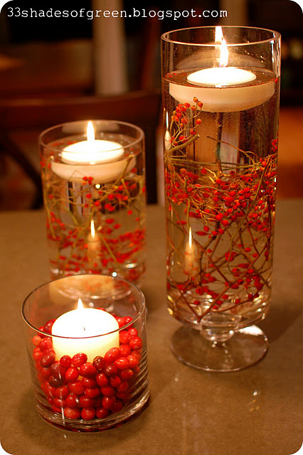 Floating berry candles