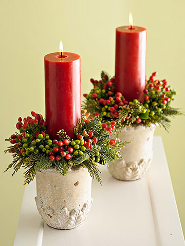 Garden-Inspired Christmas Candles (via bhg)