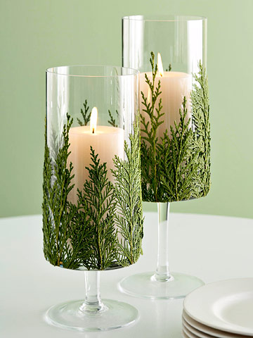Evergreen Candle (via bhg)