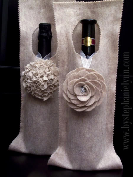 Handmade No-Sew Felt Wine Wrap (via bystephanielynn)