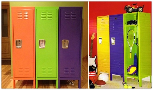 colorful lockers for a children room via ideashomedesign