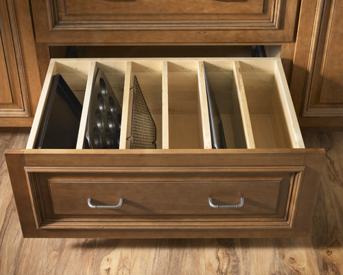 Diy pan organizer for a large drawer via houzz