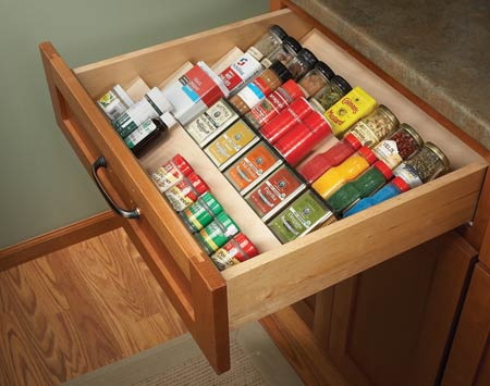 DIY Angled Shelving To Organize Spices In A Drawer (via familyhandyman)