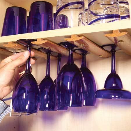 DIY In-cabinet WIne Glass Holder