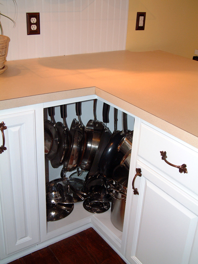Hooks To Store Pots In A Cabinet (via childfreechic)
