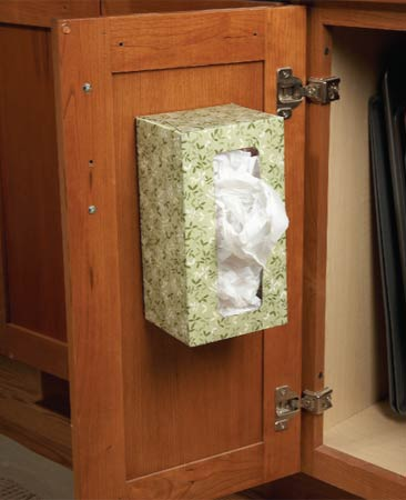 Plastic Bag Holder On A Cabinet Door