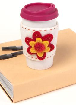 Felted DIY Floral Cup Cozy