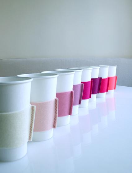 Easy DIY Felt Coffee Cozies (via purlbee)