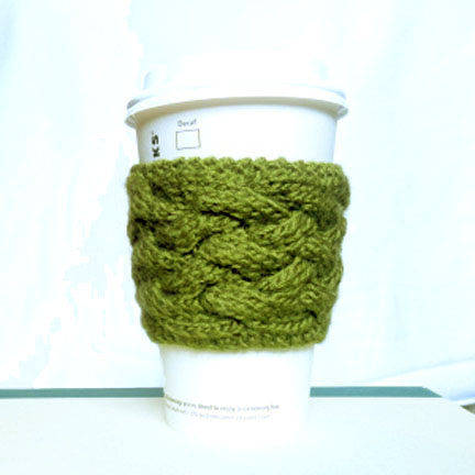 Woven Cable Coffee Cup Sleeve Pattern (via atightknitgathering)