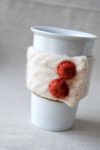 Quick Coffee Cozy from a Repurposed Sweater
