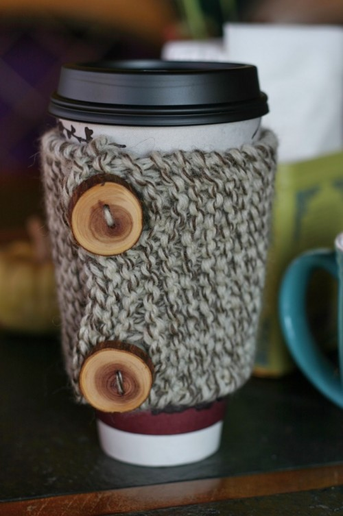 Free Coffee Cozy Knitting or Crochet Pattern Tutorial