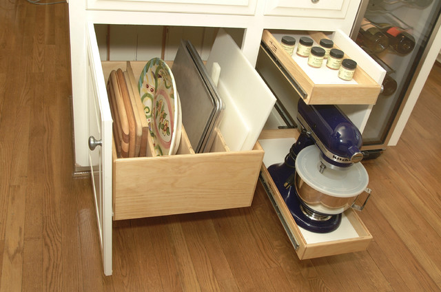 Glide Out Storage Of Baking Stuff