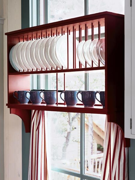 Plate storage rack over the window (via thekitchn)
