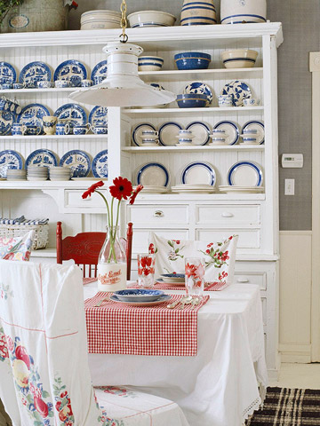 In a dining room's hutch (via bhg)