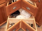 Deep pull-out drawers in a corner cabinet