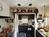 Custom pot rack on a cabin kitchen