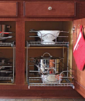 Cabinets With Sliding Shelf Organizers (via realsimple)