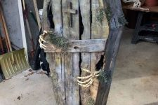 a cool rustic halloween coffin