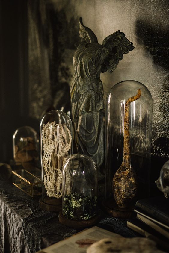 chic and spooky Halloween decor - various parts of bodies and monsters in cloches is a stylish refined idea