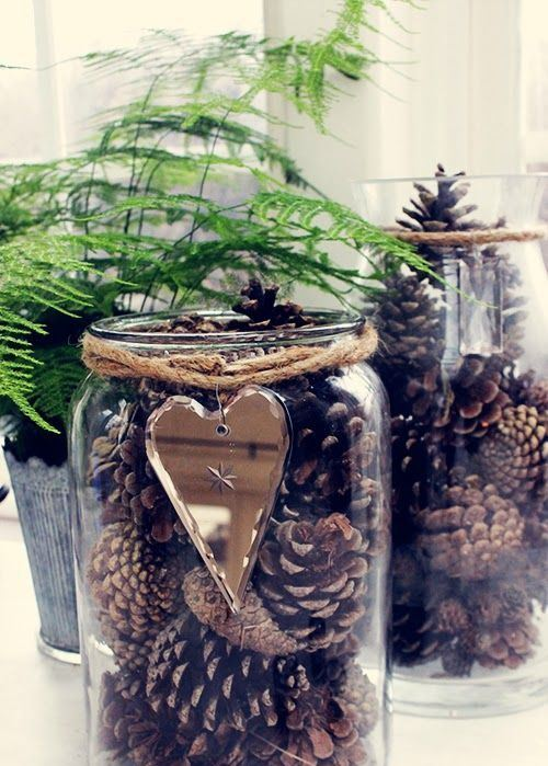 glasses with pinecones, twine and a mirror heart are great for decorating for the fall