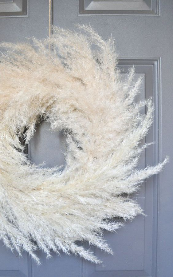 an airy pampas grass wreath is a beautiful and chic decoration for the fall