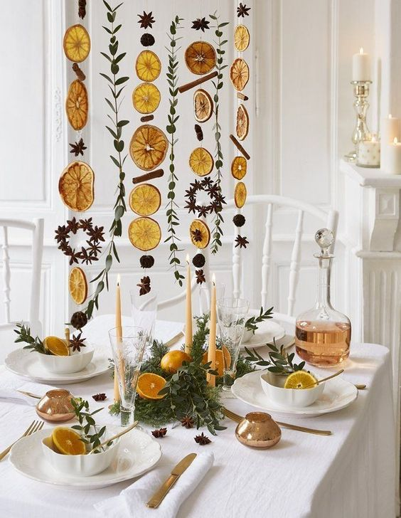 dried garlands of cinnamon sticks, dried citrus, greenery and nuts and pinecones will brign a fall feel and an aroma to the space