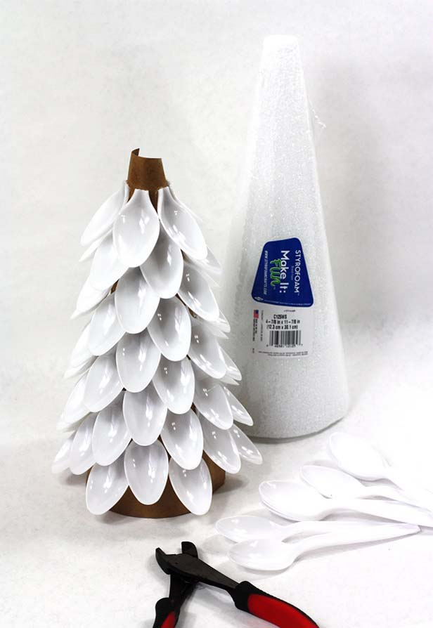 Plastic spoons glued to styrofoam cones could look quite festive too.