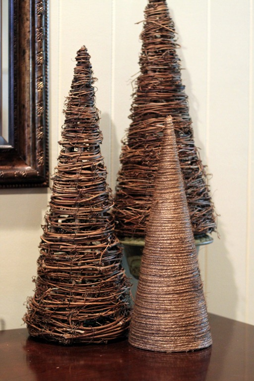 Wrap twine or twigs around a brown paper cone using hot glue and enjoy natural-looking, even rustic tabletop trees.