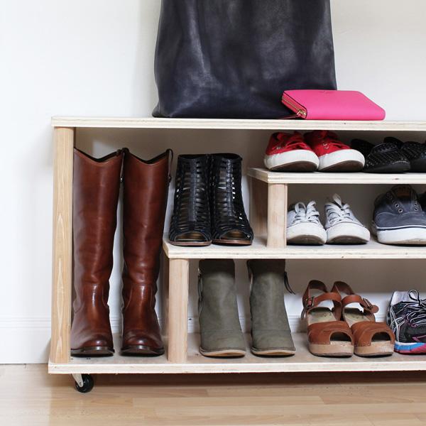 DIY rolling shoe rack