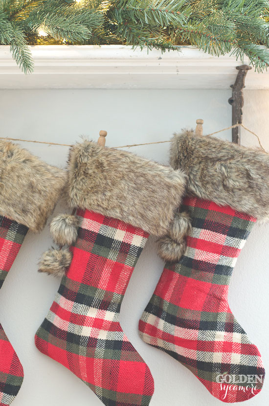 Plaid stockings have an interesting, cozy look. They are perfect touch to your decor during cold winter days.
