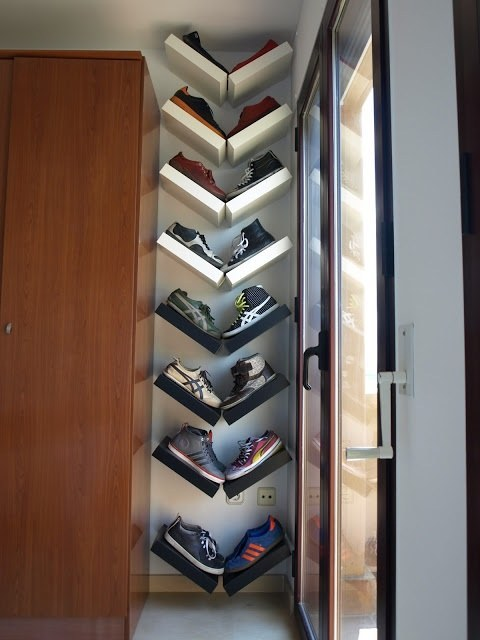 IKEA LACK shelves hanged in a V shape could serve as a creative shoe display