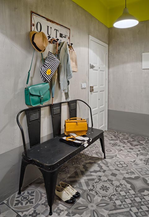 add an industrial furniture to your entryway cuz it works really good there