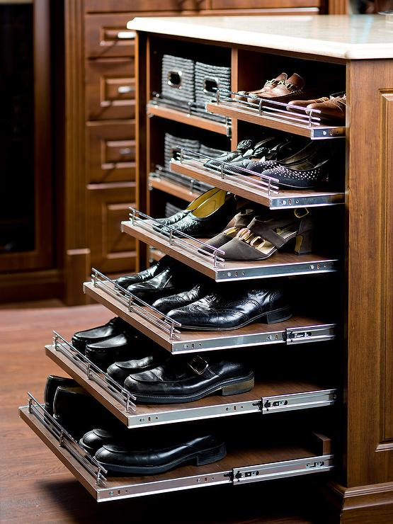 awesome pull-out shoe shelves could solve access problems for many wardrobes