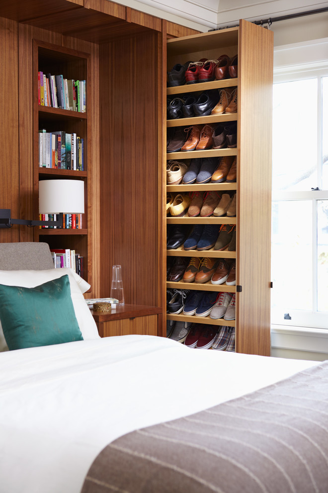 awesome shoes storage idea for a bedroom that saves lots of space but is still very functional