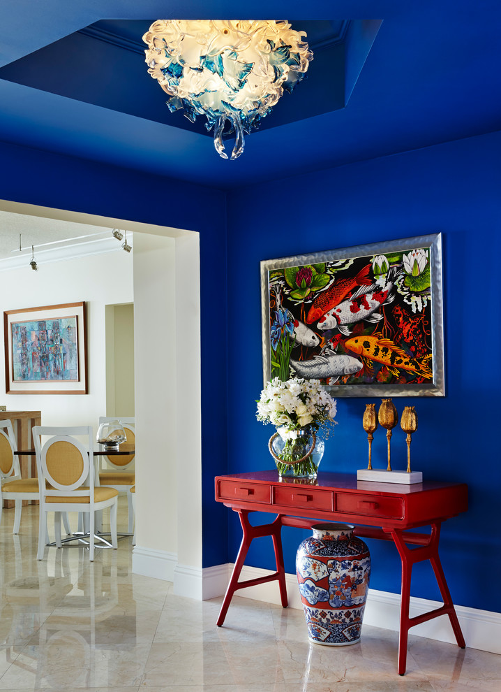 bold blue color works well for a well-light hallway