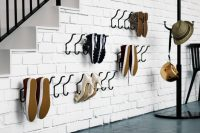 clever use of IKEA hooks to occupy wall space for shoe storage