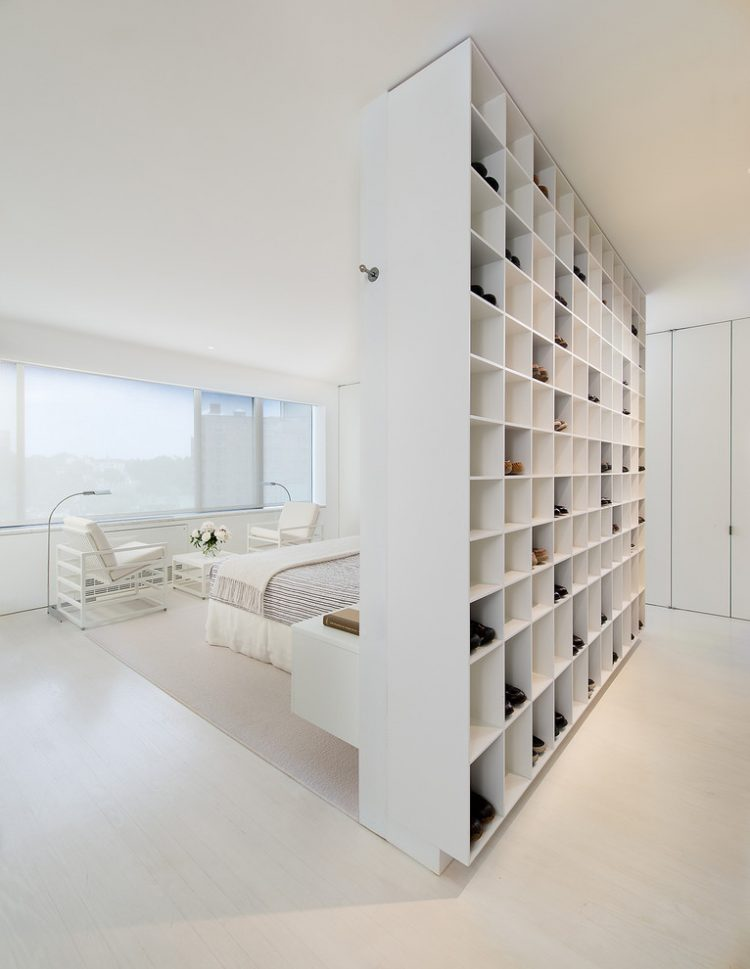 contemporary room divider in an apartment of shoeaholic