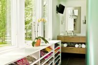 even a narrow bathroom could fit enough cabinets to store all your shoes