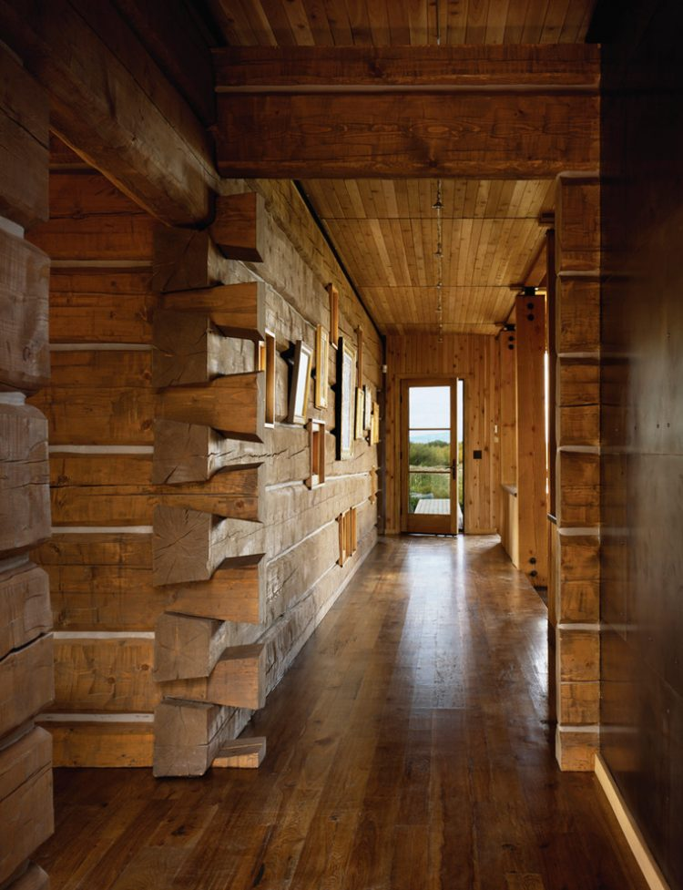 rustic all-wood hallway design that is perfect for some cabin in a forest