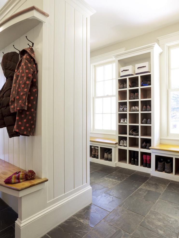 Styilish Entryway Shoe Storage Under Benches And In A Tall Cabinet