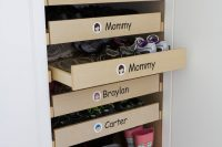 when you're using drawers to store your shoes you could separate them by family members