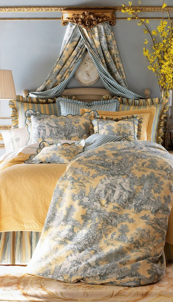 toile is a great fabric for a french country bedroom - French Style Bedrooms Ideas